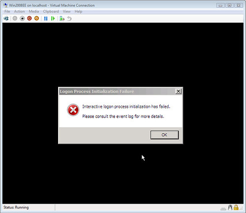 Interactive logon process initialization has failed