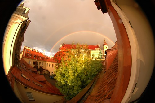 Fisheye View of a Vilnius Double Rainbow