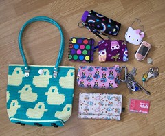 What's in my bag? (toriloveskitty) Tags: bag mirror nokia phone wallet hellokitty sanrio purse pouch swimmer newlook tote owls skippinggirl