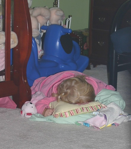 Anna sleeping on the floor