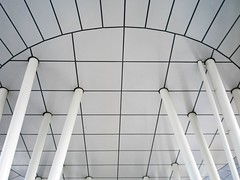 Geometric ceiling (tanakawho) Tags: city urban bw abstract geometric monochrome vertical horizontal architecture circle square tokyo cool pattern pillar monotone ceiling line curve slanted tanakawho