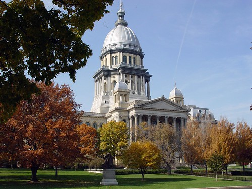Springfield - Illinois State Capitol Building in Fall by myoldpostcards.