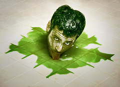 Its back (aknacer) Tags: portrait green self floor head aaron goo ooze nace 365days strobist trianglestrobist aknacer aaronnace