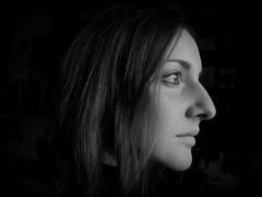 (PRO)FILOsofia del capello bianco (giulia dF) Tags: white black girl natural portait profile hide seek twenty bianchi hairs capelli filosofia profilo