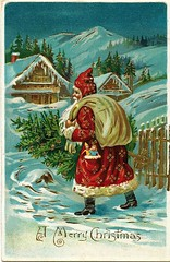 Antique Christmas Postcard - Santa Claus brings a Tree (Ancestors of Cornelius Dunham) Tags: santa christmas xmas red holiday snow mountains alps tree green pine vintage gold antique christmastree holly evergreen postcards yule fatherchristmas santaclaus merrychristmas skilodge santaklaus happynewyear happychristmas yuletide oldsaintnick