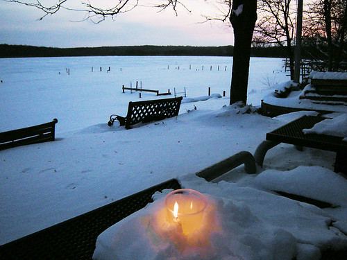 Lighting Our Solstice Candles at Sunset in the Subzero Windchill