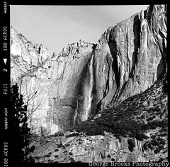 Yosemite Falls (George Brooks) Tags: blackandwhite bw iso100 waterfall fuji falls hasselblad yosemite 100 acros 500cm
