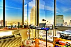 home office (mudpig) Tags: nyc newyorkcity newyork home skyline geotagged office newjersey mac jerseycity cityscape trump hdr trumpplaza mudpig stevekelley 50christophercolumbus 50columbus