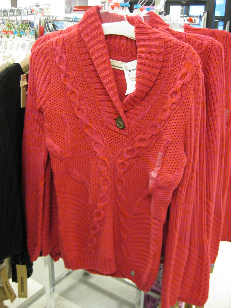 DKNY hot pink and red cozy sweater, $29.99