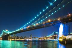 Two Bridges and the Waterfall (Tony Shi Photos) Tags: nyc newyorkcity waterfall dumbo brooklynbridge eastriver 瀑布 twobridges 纽约 紐約 dowtownmanhattan sonyalpha700 ньюйорк ニューヨークシティ 뉴욕시 thànhphốnewyork न्यूयॉर्कशहर 布鲁克林桥 曼哈顿桥 tonyshi مدينةنيويورك นิวยอร์กซิตี้