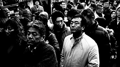 フリー写真素材, 人物, 集団・グループ・群衆, モノクロ写真, 日本人,
