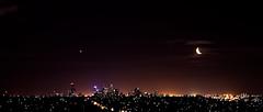 Moonlighting over Melbourne (Steve Koukoulas) Tags: city sunset sky moon skyline shopping star venus melbourne center clear moonlight westfield canonef2470mmf28lusm rialto doncaster