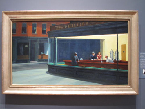 Nighthawks by Edward Hopper, at the Chicago Art Institute