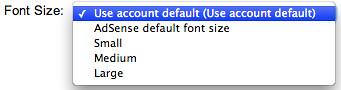 AdSense Font Sizes