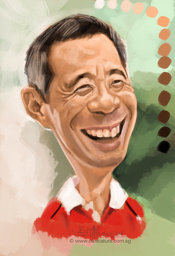 Digital caricature of Singapore Prime Minister Lee Hsien Loong - 2