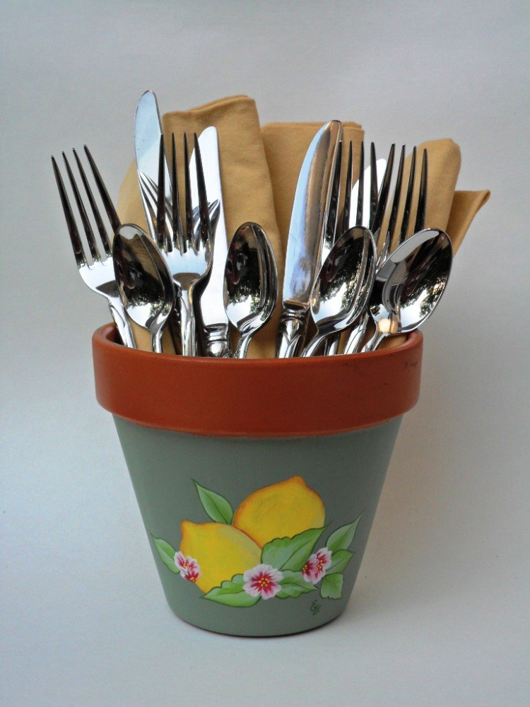 Flower Pot Terracotta Lemons Hand Painted