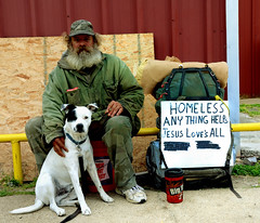 Homeless Man and Dog (photographyguy) Tags: dog love texas tx homeless canine backpack hitchhiker i20