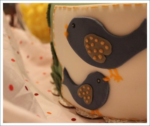 birdies on cake