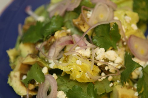 Buttercrunch Salad with Cilantro, Lime, Shallots, and Feta