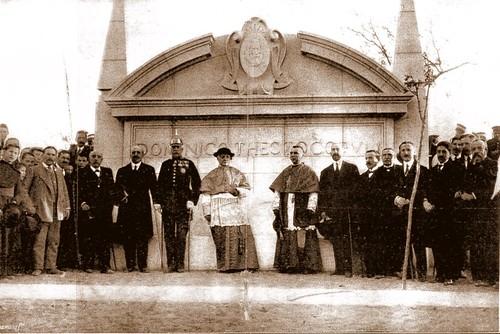 Inauguración del monumento a El Greco el 7 de abril de 1914 presidida por el Nuncio del Papa Francesco Ragonesi