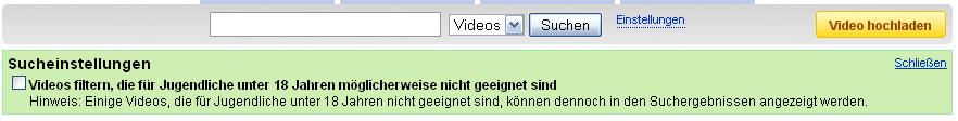 Sucheinstellungen YouTube