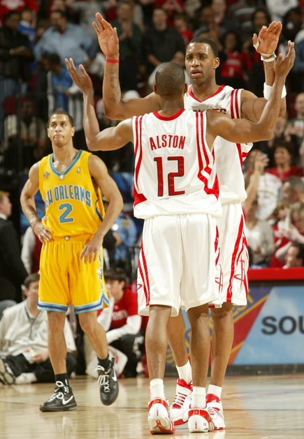 Tracy McGrady and Rafer Alston celebrate as the Rockets distance themselves from the New Orleans Hornets Saturday night and ultimately win 106-96.  McGrady and Alston combined for 61 points to extend Houston's winning streak to 18 games in one of the most exciting games of the season.  Unbelievable.