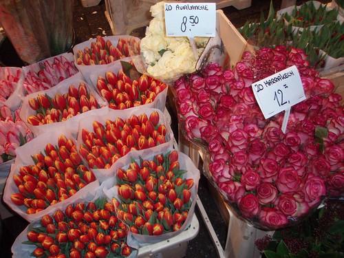Tulipanes y flores en Amsterdam