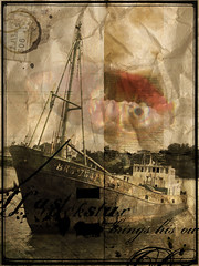 AfterBoat (givikat) Tags: old art composition design artwork pub bravo graphic style pollution bateau papier tampon vieux affiche ancien cration gmprod scopict