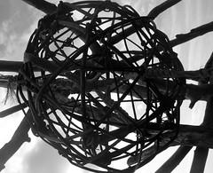 chaosBW (spillebeen) Tags: bw sun moon abstract ball sticks chaos shell driftwood willow imagination landart