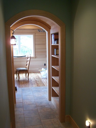 arch and bookcase