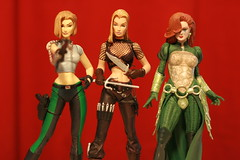 ABBEY, NATALIA& DAWN (SkullRingPics) Tags: girls red green toy actionfigure dawn redhead comicbook blonde fishnets trio knives gown weapons statuette dangergirls femmefatales abbeychase nataliakassle
