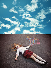 (L caitlin) Tags: portrait sky colour love girl clouds diptych heart swirls