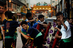 Peace from Lion Dancers (DSC4043) (Fadzly @ Shutterhack) Tags: china street travel vacation people holiday hot nature kids d50 asian town photo dance nikon asia published action candid chinese culture photojournalism documentary traditions human malaysia kungfu tropical tropic restoration kuala kampung 50mmf18d cina asean terengganu equator dorp humid publish aldeia mys  mensen liondancer   aldea     maleisi    mennesker   nikonstunninggallery  shutterhack  nikonnikkor50mmf18afd