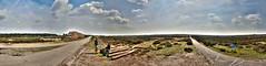 Faces Of The Veluwe N1 (DS) Tags: road light summer sky panorama detail nature clouds landscape cyclist faces logs rays geology hdr veluwe landschap rds fietspad gelderland geologie parkhogeveluwe ds