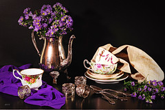 Preparing for Tea (floralgal) Tags: china flowers stilllife silver purple tea decorative silk napkins teapot silkscarf florals spoons aster entertaining napkinrings cupsandsaucers abigfave tabletopstilllife betterthangood theperfectphotographer silvertablewear silverpitcherandteacups dianaleeangstadtphotography