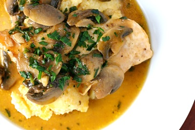 braised chicken with mushrooms and polenta