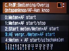 Figuur 16: veranderen van AE lock en AF functies via C.FnIV-1 van de Canon EOS 1DmkIII