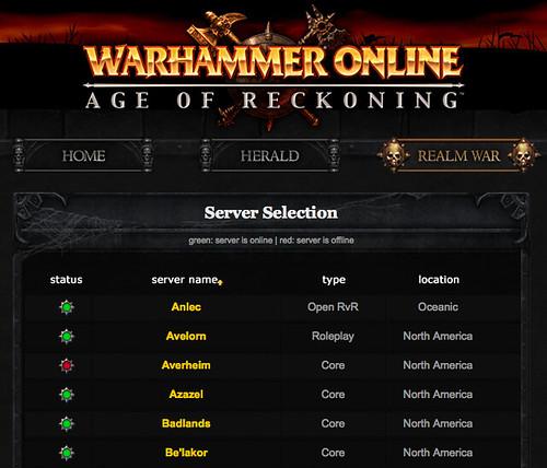 Warhammer Online Server Status