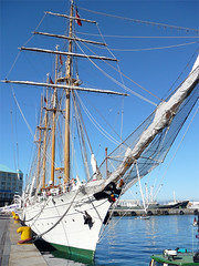Esmeralda | Ship (Web Design Cape Town) Tags: sea classic water hotel boat sailing ship harbour yacht speedboat vessel capetown rope flags quay porthole anchor crowsnest mast hull tallship schooner bollard sailingship esmeralda moored bowsprit mizzen mooringline