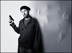 October 19th 2008 - Ghosts of the Past (Stephen Poff) Tags: blackandwhite beard trapped scary hands gun ghost stephen creepy spooky beret poff 365days strobist waltherp22
