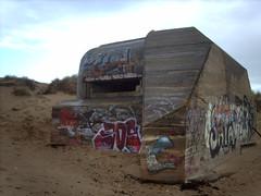 Graffitied German WWII concrete bunker at Locmariaquer (hugovk) Tags: camera autumn france beach digital geotagged concrete graffiti sand october brittany war nazi wwii bretagne breizh bunker german ww2 fortification hvk 2008 plage morbihan syksy laplage llydaw locmariaquer golfedumorbihan graffitied lokakuu ranska hugovk geo:country=france exif:ISO_Speed=50 gulfofmorbihan lokmariakaer imag5571 locmariaquerjpg 171kmtolocmariaquerinbrittanyfrance geo:lat=47556947 geo:lon=2967688 exif:Focal_Length=77mm digitalcamerads5mp exif:Flash=autodidnotfire geo:region=brittany exif:Aperture=30 exif:Orientation=horizontalnormal exif:Exposure=1149 exif:Exposure_Bias=0 geo:county=morbihan ds5mp camera:Model=ds5mp camera:Make=digitalcamera geo:locality=locmariaquer graffitiedgermanwwiiconcretebunkeratlocmariaquer meta:exif=1364128380