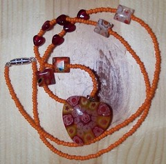 Sizzling Hot Orange and Red Millefiori Necklace (Bebopgirl1969) Tags: red orange glass necklace heart handmade bead etsy beaded milliefiori