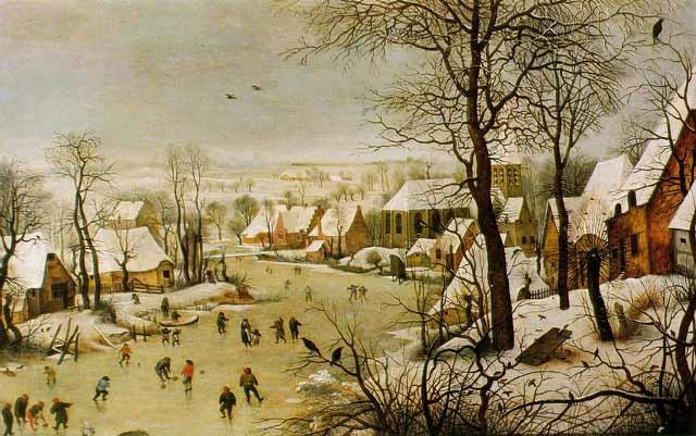 """L'opera di Pieter Bruegel """"Paesaggio invernale con pattinatori"""""""