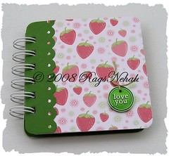 """love you"" Strawberries Post It Holder"