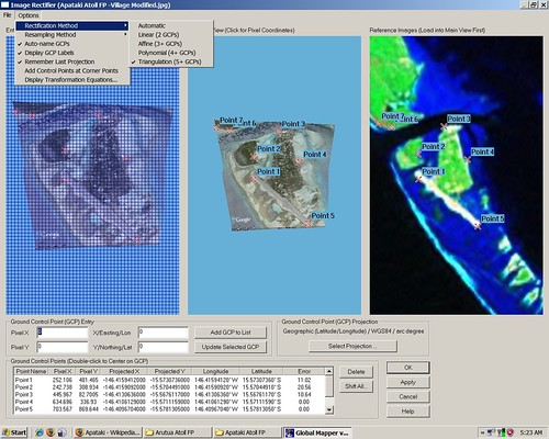 Apataki Atoll FP - Niutahi Village - Georectifying DigitalGlobe Image using Global Mapper