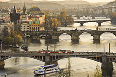 Czech Republic / Prague - The bridges (2008) (Manu Foissotte) Tags: voyage travel train landscape boat nikon europe european czech prague praha historic histoire czechrepublic nikkor tramway bratislava rpubliquetchque dcouverte culte czesh 5photosaday leurope foissotte manufoissotte