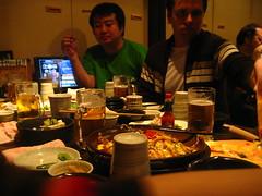 Satoshi and John feasting