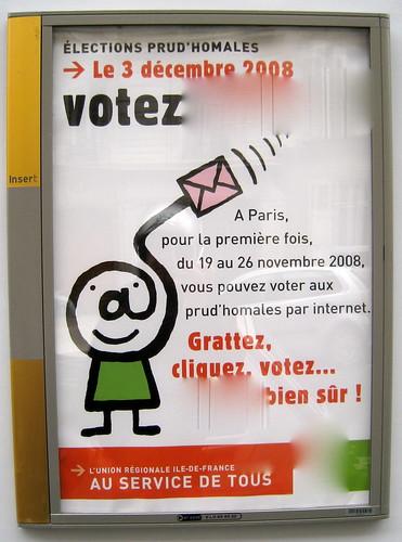 Pub pour les élections prud'hommales et le vote par Internet