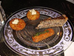 Fish cakes, mushroom tart and lamb goujon at The Bon Vivant, Thistle St, Edinburgh