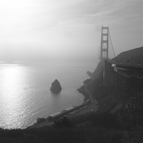 Golden Gate Bridge from Marin Side - Black and White, Square Format
